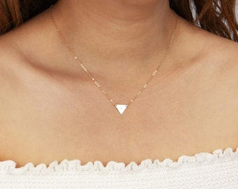 Personalized Small Triangle Necklace, Gold Initial Necklace, Geometric Monogram Triangle Jewelry, Delicate Layering Necklace Silver
