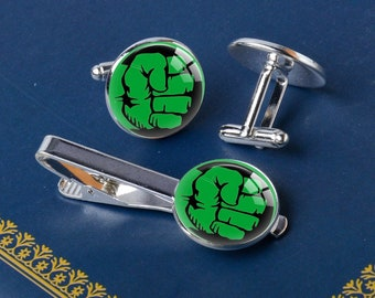 HULK Fist Cuff Links Tie Clip, Comic Avengers Superhero Personalized Gifts for Men Wedding Jewelry Silver Cufflinks Tie Bar