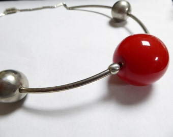 JAKOB BENGEL, art deco necklace, chrome and galalith. RED.....