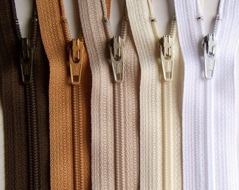 YKK Zipper Bundle NATURALS brown tan beige vanilla white -10 zippers- available in 3,4,5,6,7,8,9,10,12,14,16,18,20 and 22 inches
