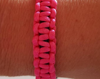 Bright pink . Macrame knotted bracelet with adjustable slide knot opening. Boho / friendship