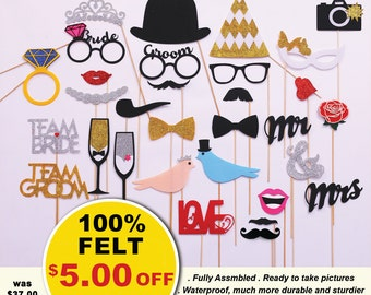 30pc Wedding Party Favors, Wedding Photo Booth Props - wedding favor