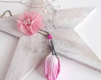 Pink and white Tulip Flower necklace
