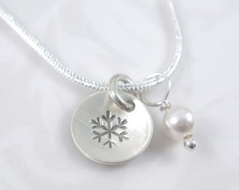 hand stamped snowflake sterling silver charm with pearl necklace