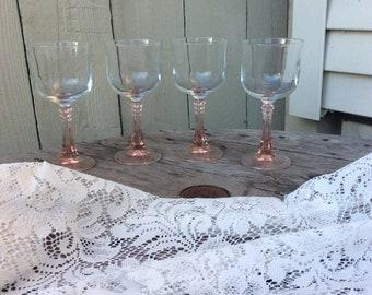 Vintage Pink Stemmed Tulip Wine Glasses