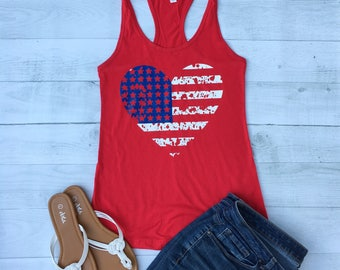4th of July Women, American Flag tank top, American Flag Shirt, USA Shirt, red white and blue shirt, July 4th Shirt, Flag Heart, XXL, IDR50T