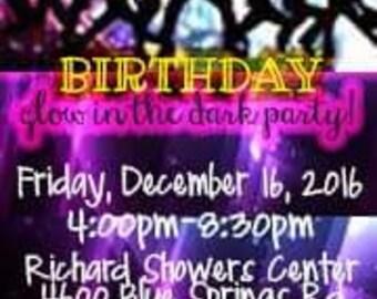 Fun Multi-Color Glow Dance Party Invitation, Invite
