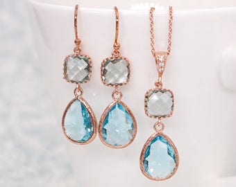 Erinite Cushion Aquamarine Teardrop Earrings | Rose Gold |Simple Bridesmaid Bridal Wedding Jewerly Gifts| Something blue | GlitzAndLove E297