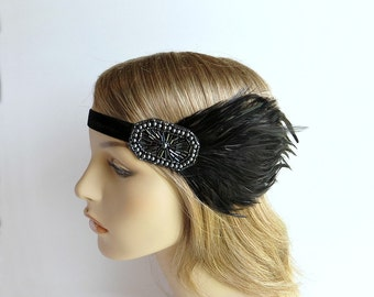 Flapper 1920s Headband, Great Gatsby Headpiece, Gunmetal Gray Pewter, Charcoal Beaded Black Feather Headband by Adorning Beauty