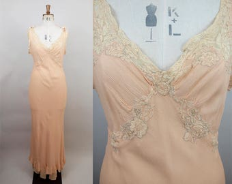 1930s Silk Crepe Nightgown / 30s Peach Bias Cut Gown / Sheer Nightdress / Cotton Lace Applique / Size Small / XS S M