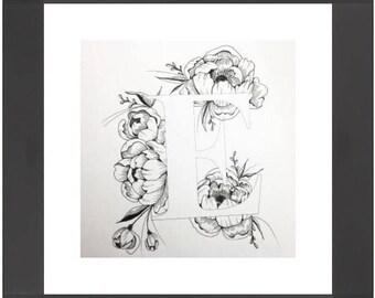 Illustrated 'E' initial print