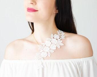 Mom Gift Bridal Necklace Wedding Necklace White Lace Necklace Statement Necklace Jewelry Bridal Lace Wedding Jewelry Gold Necklace/ LANARA