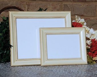 Vintage picture frame set, Ivory wood photo frames, Coastal cottage home decor, Beach house gallery wall, Neutral nursery, Ready to ship