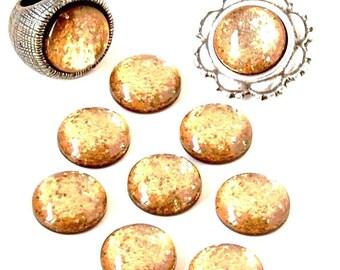 Cabochon resin - Glitter - circular (12mm) - Light Colorado Topaz - CABSYRD12LMAR960