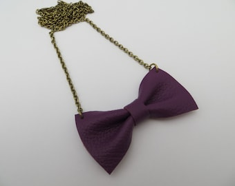 Handmade Purple Leather Bow Tie Necklace