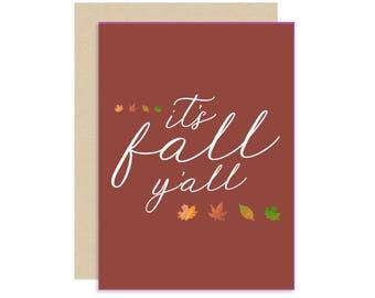 It's Fall Y'all - Fall/Autumn Card - Cute Fun Modern - 5x7