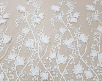 Ivory lace fabric by the yard, lace to love, embroidered 3D French lace fabric, white bridal chantilly lace for wedding dress N20226