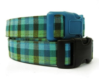 Teal Blue and Lime Green Gingham Plaid Dog Collar