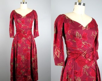 Vintage 1950s Silk Dress 50s Silk Shantung Rose Print Dress by Suzy Perette Size XS