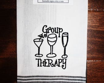 group therapy kitchen towel ~cute wine towel ~ wine lover kitchen towel ~ wine club