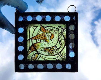 Stained Glass window, Bird, Panel, Miniature, Leaded, Ready to Hang, 145x145mm (5.75x5.75 inch), Hand painted, kiln fired, antique looking