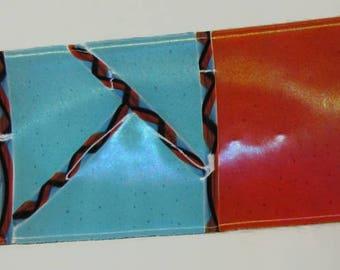 Fused Glass Vitrigraph Platter-Twisted Cane-Handmade-Orange-Aqua-Black