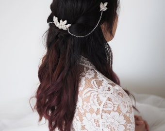 BRYONY Comb Silver Floral Bridal Hair, Vintage Wedding Ivory Flower Headpiece (#303)