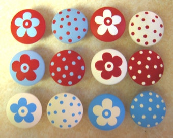 Set of 12 - Red, White and Blue - Polka Dots & Flowers - Knobs / Pulls