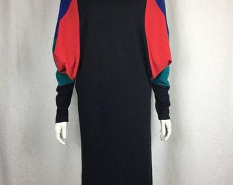 Vtg 80s colorblock knit lightweight sweater dress avant garde batwing dolman bodycon