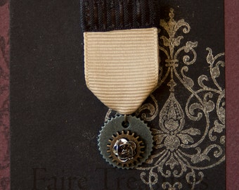 Steampunk Medal Gears and Rose - Costume Medal - Airship Pirate Honors - Steampunk Accessory - Rose Gear Pin - Halloween Costume