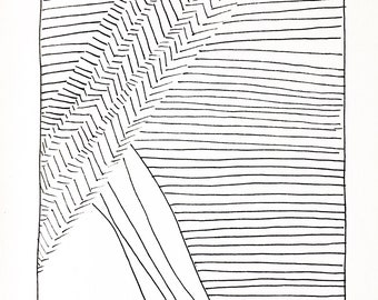 Abstract line drawing black and white organic original