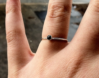 3mm Sapphire and Sterling Silver Gemstone Stacking Ring - September Birthstone - custom made to order