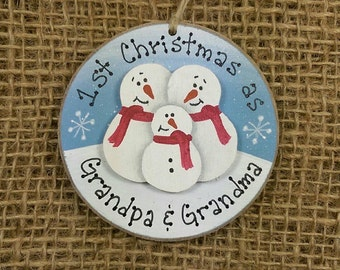 Grandparents First Christmas~ First Christmas Ornament~ First Christmas as Grandma and Grandpa~ Grandparents Gift~ Snowman Couple Ornament