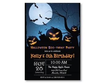 Trick treat invite etsy halloween birthday invitation halloween costume party invitiaton boy or girl bday invite trick or treat invitation printable digital stopboris Choice Image