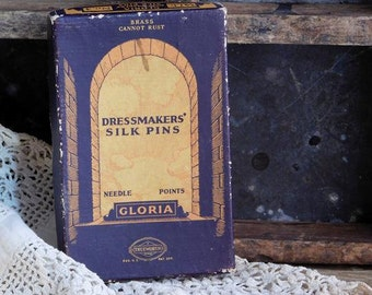 Vintage Dressmaker Silk Pin Box, Sewing Notions Collectible