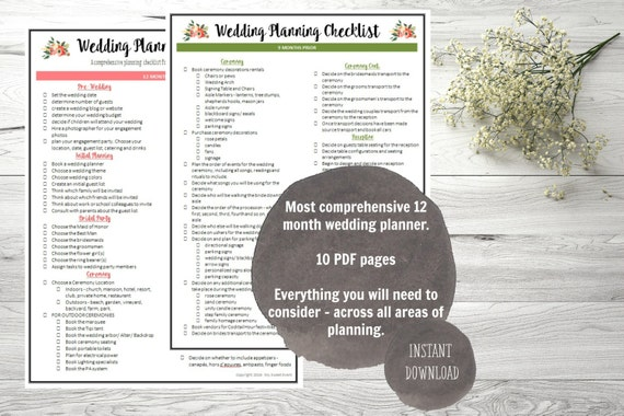 Ultimate  Month Wedding Planning Checklist Pdf Digital