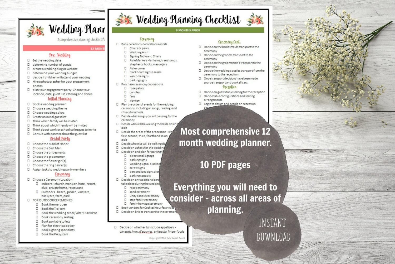 Ultimate 12 Month Wedding Planning Checklist PDF digital
