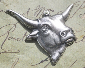 FOUR Steer Heads, Brass Charms, Pendants, Sterling Silver Ox Finish, Southwestern, Brass Stampings