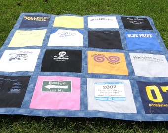 Memory Quilt out of 16 of Your Old Tshirts- Recycle and Go Green