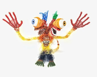 Two-headed Cyclops - Bendable Copper Wire Creature - fun, unique, fully poseable! Hand-made out of recycled & repurposed materials.