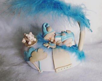 Night light baby blue polymer clay
