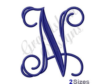 Vining Monogram Letter N - Machine Embroidery Design