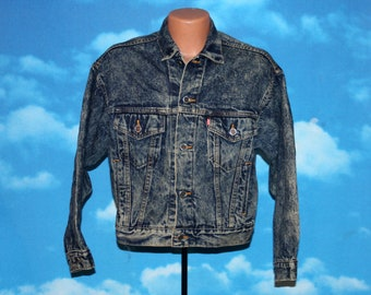 Levi's Red Tab Acid Wash Small Blue Denim Jean Jacket Made in USA Vintage 1980s