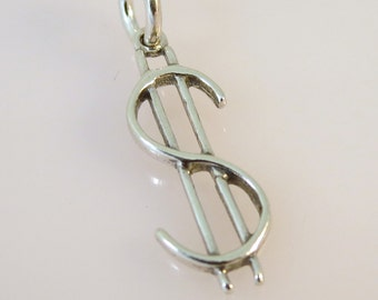 Sterling Silver DOLLAR SIGN Charm Pendant Money Cash Symbol Sign .925 Sterling Silver New wk01