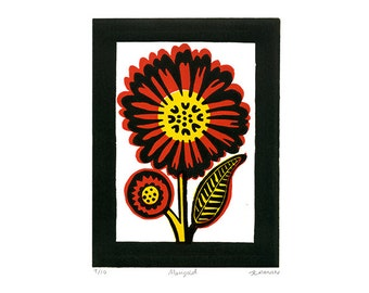 Marigold Linocut Hand Pulled Original Relief Print Edition of 10
