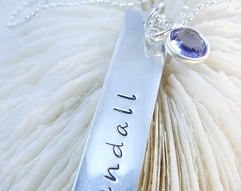 Hand Stamped Necklace - Engraved Necklace - Bar Necklace