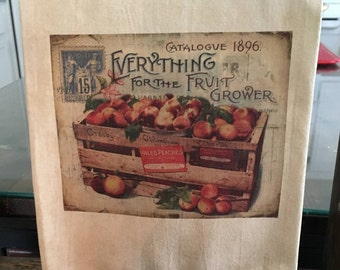 """28x20 Tea Stained Flour Sack Tea Towels """" Everything for the Fruit Grower"""""""