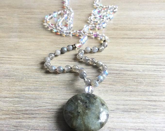 Labradorite Opal Mala Beads, 108 Mala, Gemstone, Handmade, Hand-knotted, Meditation, Yoga, Prayer Beads, Chakra, Healing