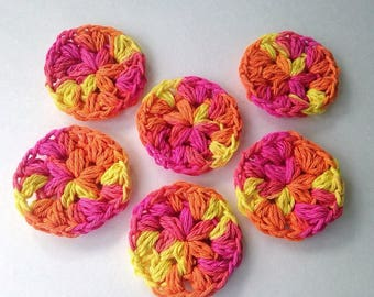 Neon Cotton Face Scrubby, Handmade Reusable Face Pads, Puffy Face Rounds, Crocheted Face Scrubby, Gifts for Her, Set of 6, Eco Friendly
