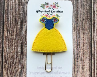 Snowy White Princess Dress Planner Clip
